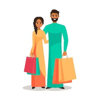 買い物袋を持つインドの人々