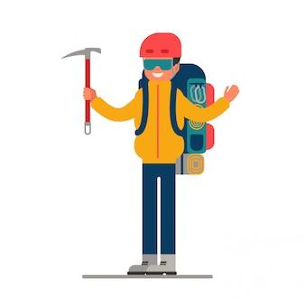Альпинист с ледорубом в руке и рюкзаком