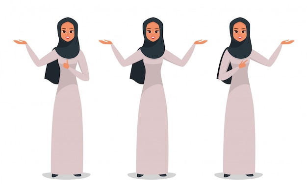 Арабский бизнес женщина, представляя что-то двумя руками