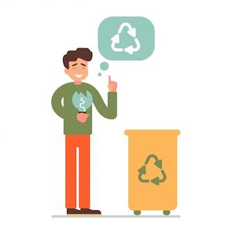Мальчик собирает люминесцентную лампу в мусорное ведро для переработки