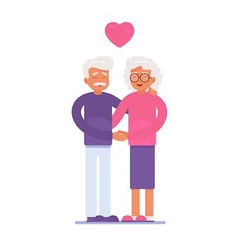 老夫婦は愛でお互いを抱きしめ