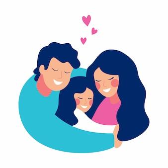 笑みを浮かべて男は彼の家族を愛と思いやりで抱きしめます。母と息子は父親の腕の中で