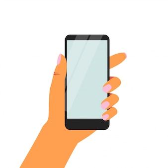 空白の画面を持つ黒いスマートフォンを持っている女性の手