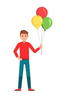 С днем рождения, мальчик с воздушными шарами.