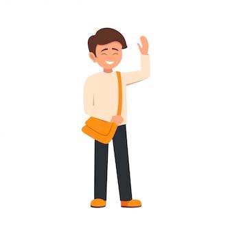 漫画のキャラクターの笑みを浮かべて男子学生が挨拶で手を上げた