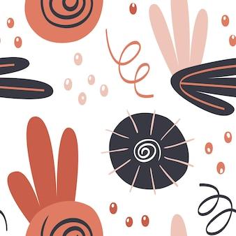 Цветочный узор с тропическими цветами, листьями и элементами рисования рук