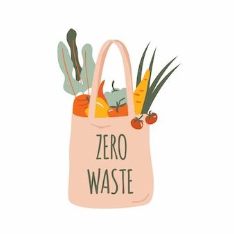 分離された野菜と再利用可能な食料品のエコバッグ