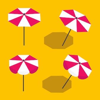 Набор пляжных зонтиков, стоящих прямо и наклоненных с тенью в изометрии.