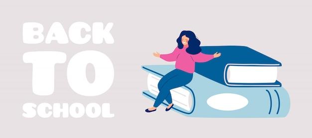 Рисованной обратно в школу открытка с счастливая девушка сидит на большие книги с распростертыми объятиями.
