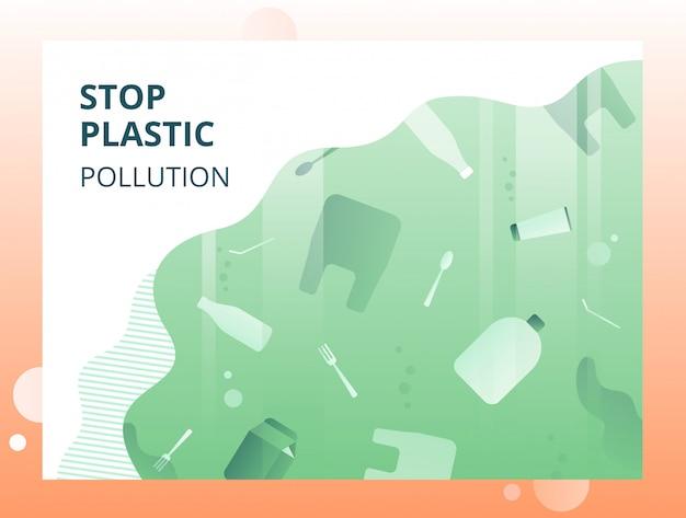 Остановите пластичное загрязнение зеленое экологическое понятие с плавающим под водой мусором.