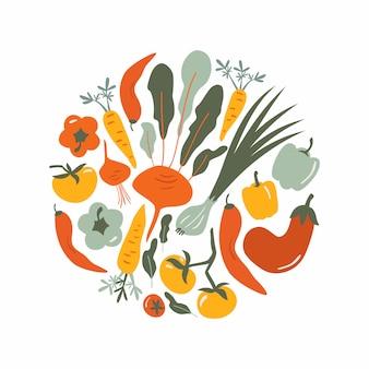 食べ物手描きの背景イラスト。野菜の落書きは、カフェメニューの丸い構成、ラベルです。