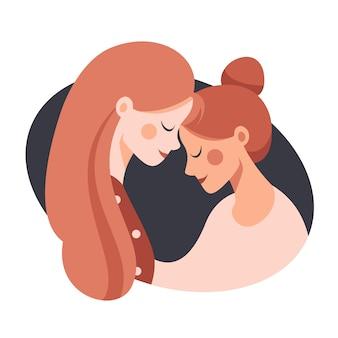 お互いを抱いて二人の幸せな姉妹の側面図。愛をこめて彼女の娘を抱きしめるかわいい若い母親