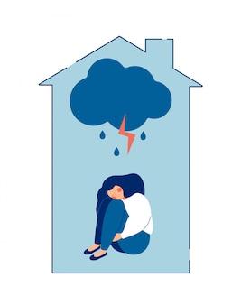 女性の概念に対する家庭内暴力。虐待を受けた女性は、痛みで彼女の体を抱きしめます。