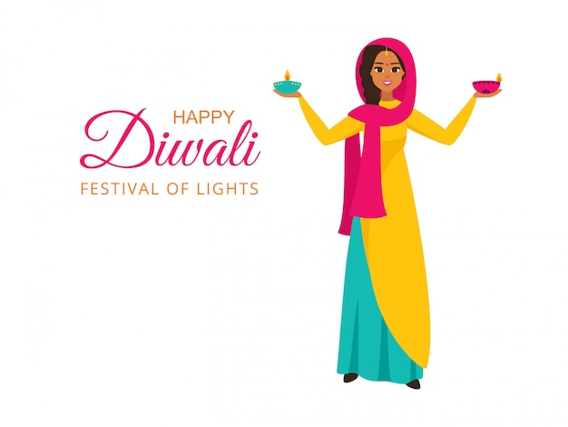 Индийская девушка в национальной одежде держит зажженные лампы для фестиваля огней с желанием счастливого дивали