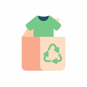 リサイクル服と繊維の緑。再利用と再利用のための古い衣類と布。