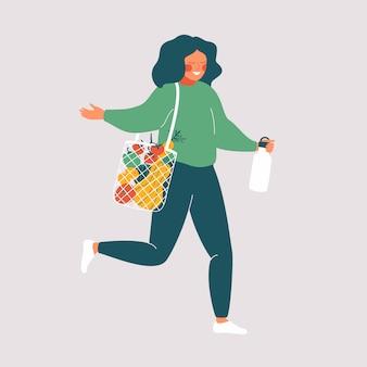 Женщина держит многоразовые чашки и эко сумка со свежими продуктами. милая девушка ходит по магазинам без отходов. векторная иллюстрация