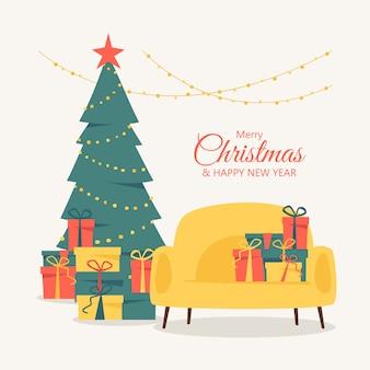 С рождеством и новым годом открытка с елкой, украшенной гирляндой и красной звездой в окружении подарков.