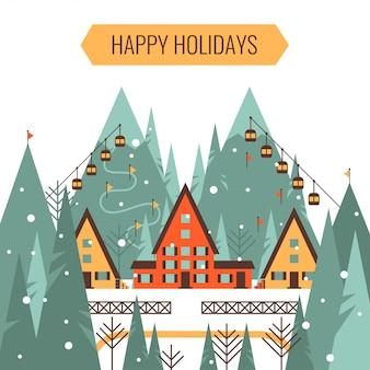 冬のクリスマスの休日の休暇とスキーの概念ベクトルイラスト。