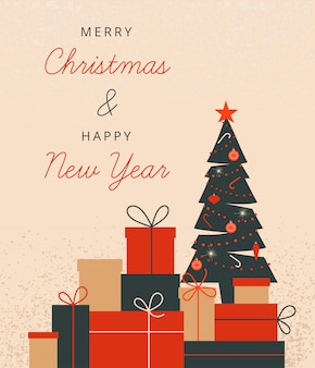 Рождественская иллюстрация с украшенным рождеством деревом и стопкой подарочных коробок