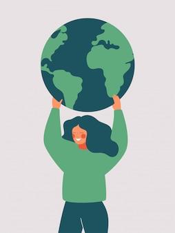 Счастливая женщина держит зеленую планету земля. векторная иллюстрация день земли и спасения планеты