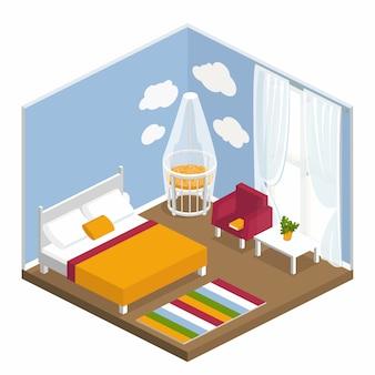 等尺性のインテリアの寝室