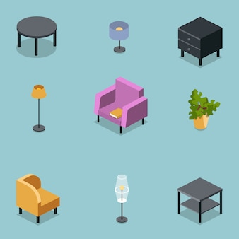 Изометрический набор мебели для гостиной