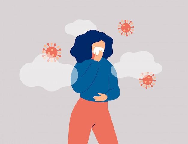微生物を取り巻く病気の女性がフェイスマスクを着用しています。コロナウイルスの流行とウイルス感染症。