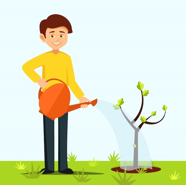 Мальчик поливает дерево