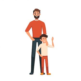 一緒に立っている彼の息子とお父さん
