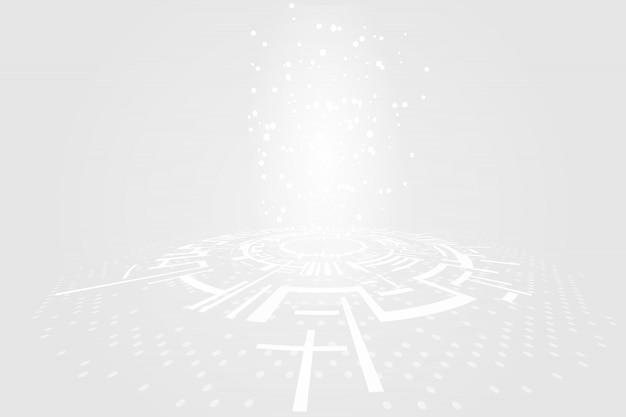 グレーホワイト抽象的なテクノロジーサークル背景