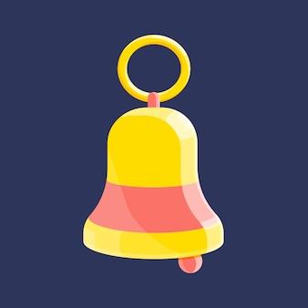 Золотой школьный звонок. векторные иконки в современном стиле, плоский