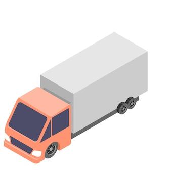 Иконка изометрические автомобиль грузовик, изолированные на белом фоне.