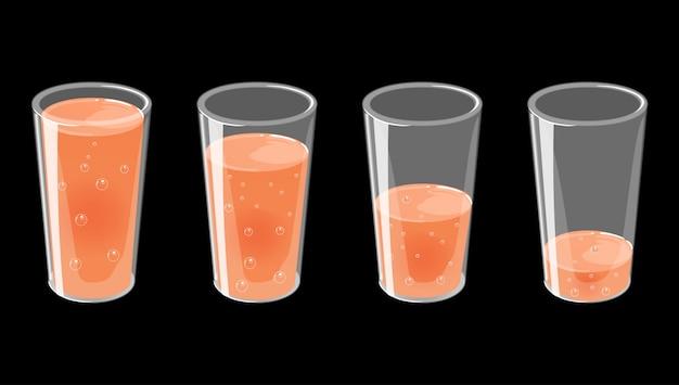 新鮮な輝くジュースのイラスト付きグラスのセットです。