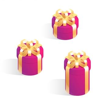 Набор круглых подарочных коробок. изометрические векторные иконки изолированные