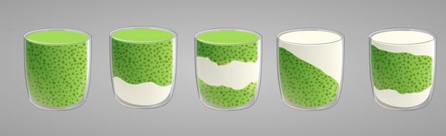 緑の抹茶とチアシードプディングのセット。