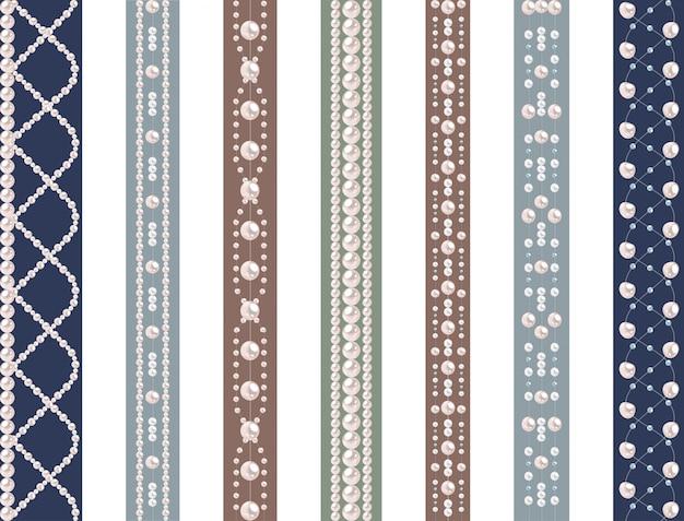 真珠とのシームレスなパターンのセット