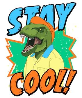 Нарисованная рукой холодная иллюстрация динозавра, вектор.