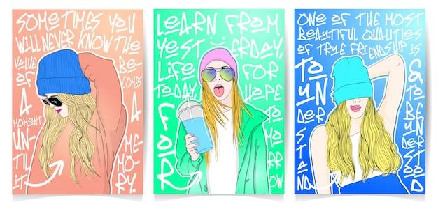 現代の女の子のイラストのセット