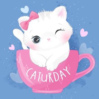 Милый котенок сора внутри иллюстрации чашки