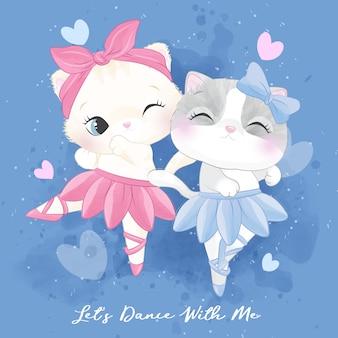Милый котенок сора с иллюстрацией балета