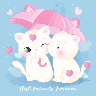 Милый маленький котенок держит зонтик
