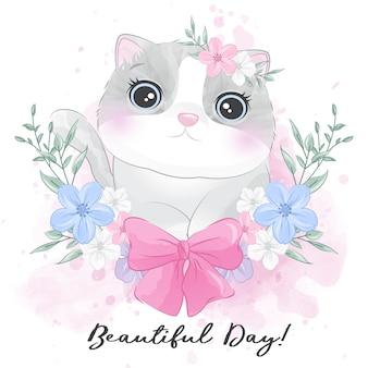 Милый маленький котенок с цветочным портретом