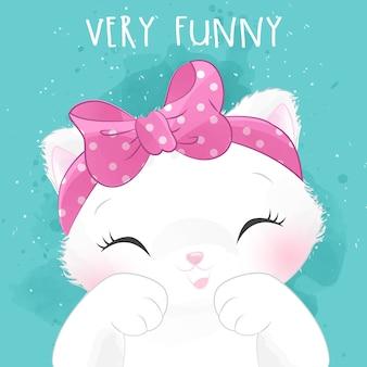 幸せな表情でかわいい小さなキティの肖像画