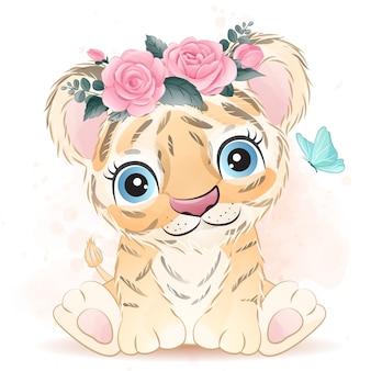 花とかわいい赤ちゃんトラ