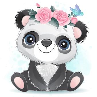 花とかわいい赤ちゃんパンダ