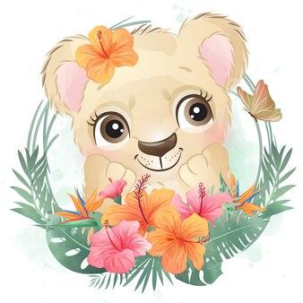 花とかわいい小さなライオンの肖像画