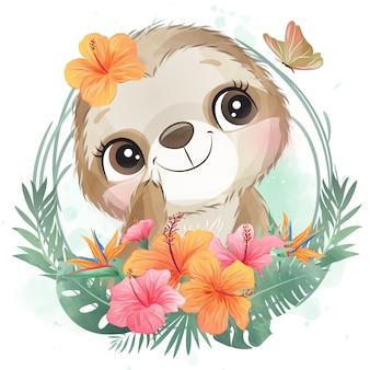 花とかわいい小さなナマケモノの肖像画