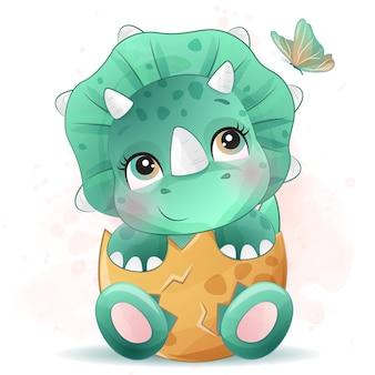 水彩画の効果を持つかわいい小さな恐竜の肖像画