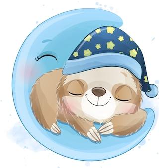 月に眠るかわいいナマケモノ