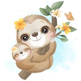 かわいいナマケモノの母親と赤ちゃんの水彩画